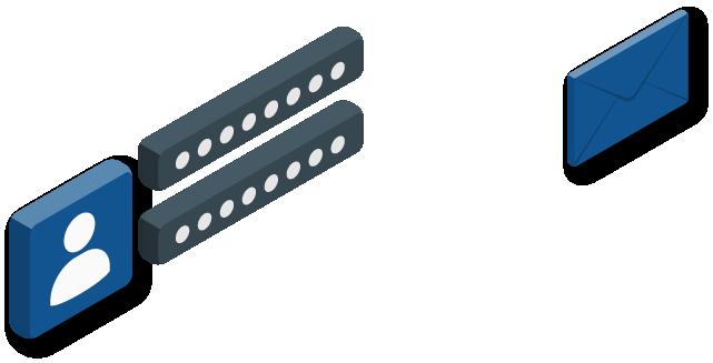 Illustration de formes isométriques qui représentent une enveloppe et un login.