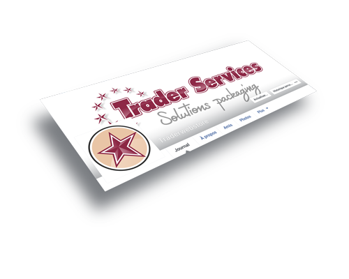 Mockup de la bannière Facebook de Trader services.